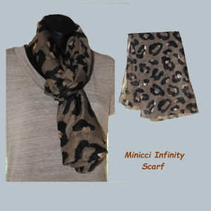 MINICCI Leopard Print Infinity Scarf Gold Accents